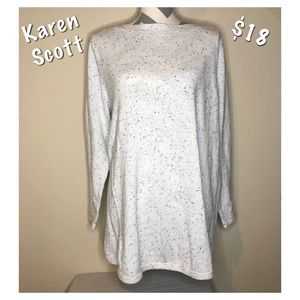 Karen Scott Long Sleeve Spotted Sweater